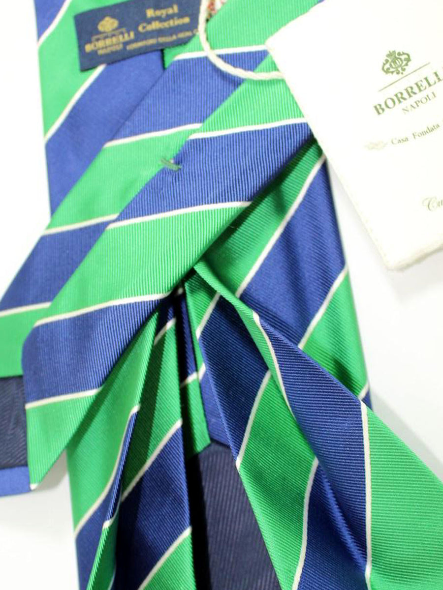 Luigi Borrelli 11 Fold Tie ROYAL COLLECTION Navy Green Stripes Design