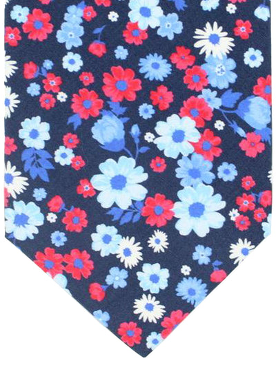 Luigi Borrelli 11 Fold Tie ROYAL COLLECTION Navy Pink Blue Floral Design