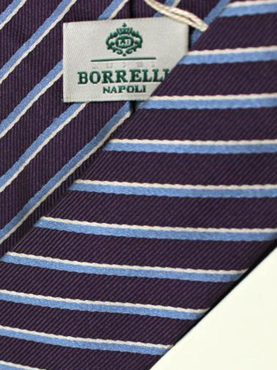 Luigi Borrelli Tie Purple Blue Silver Stripes