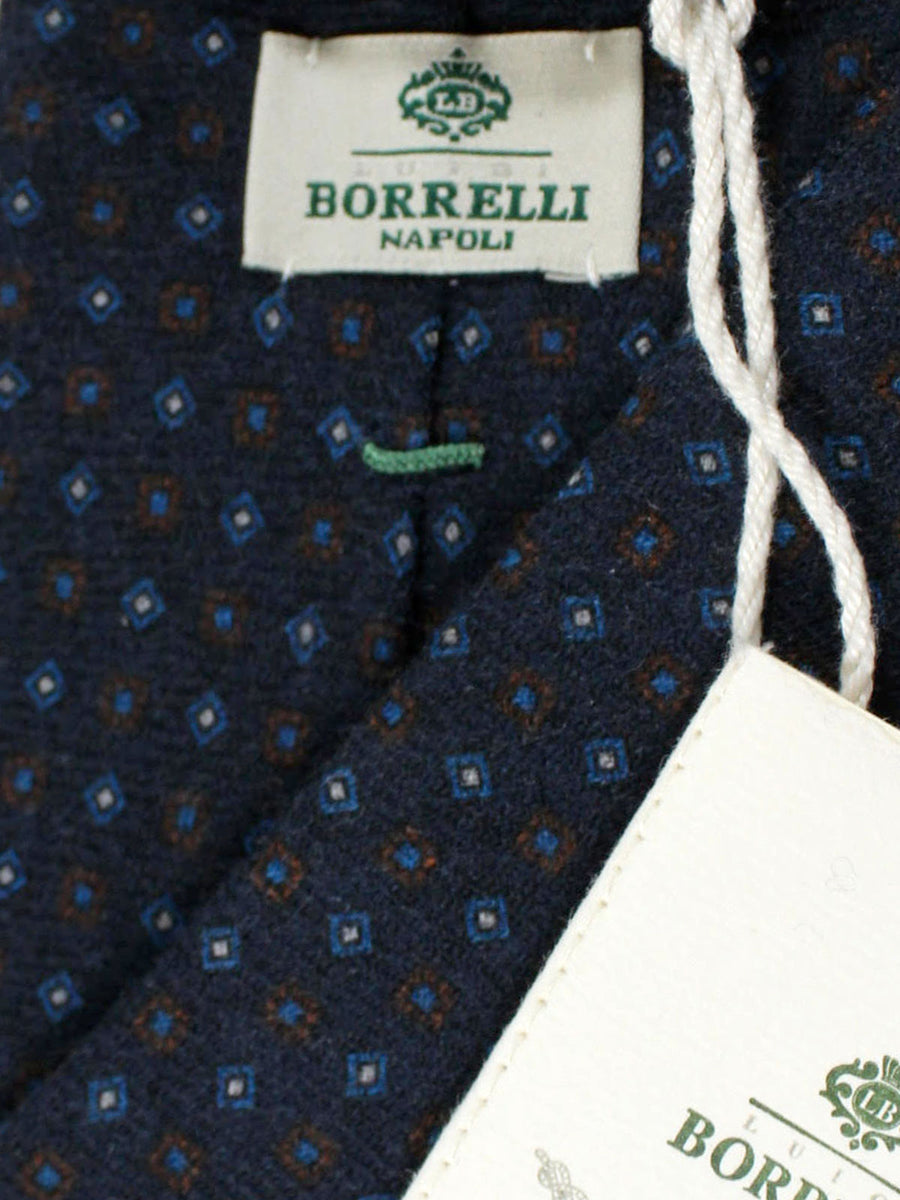 Luigi Borrelli Necktie Navy Brown Geometric Wool Tie
