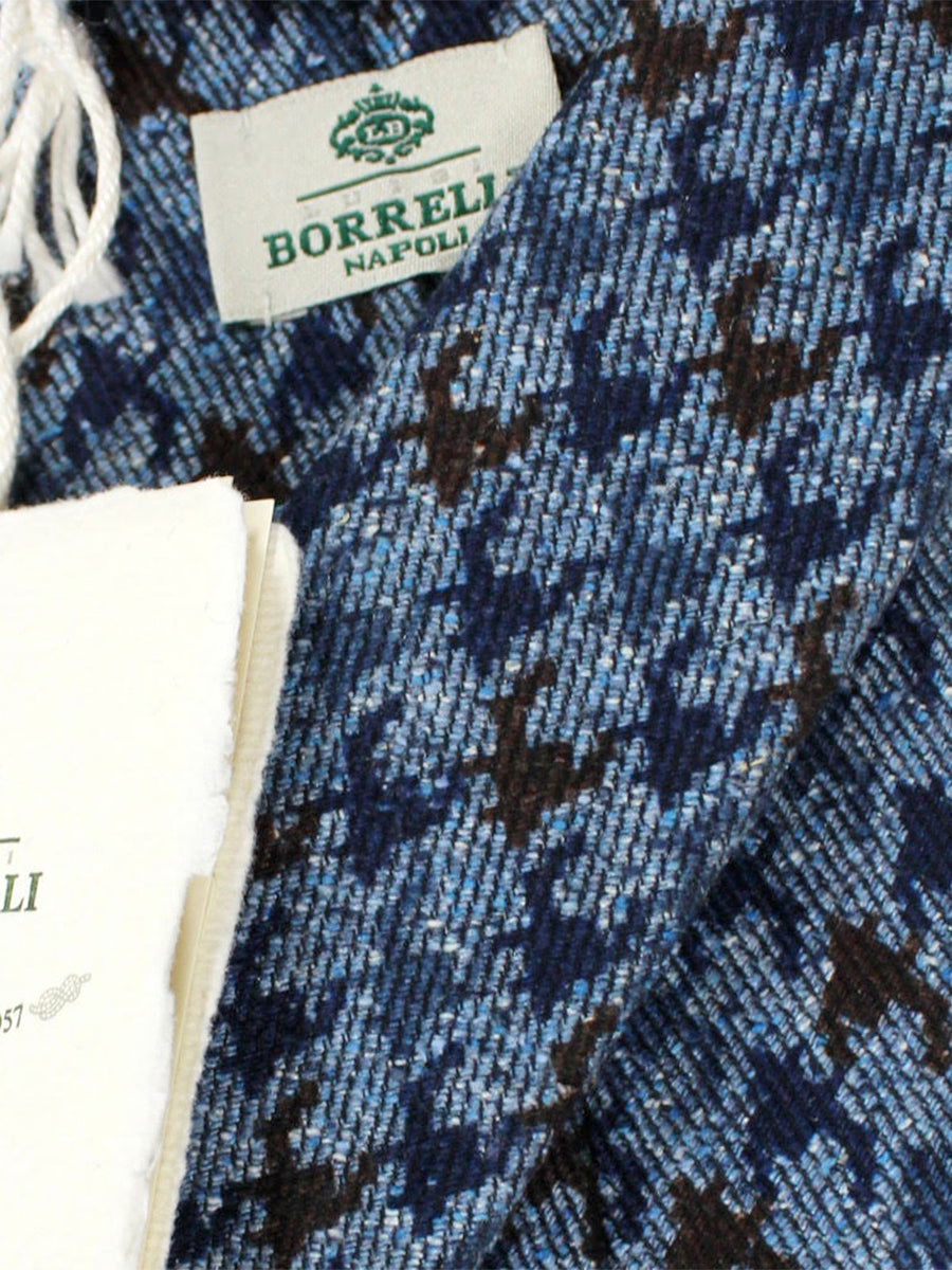 Luigi Borrelli Necktie Navy Brown Herringbone Wool Tie
