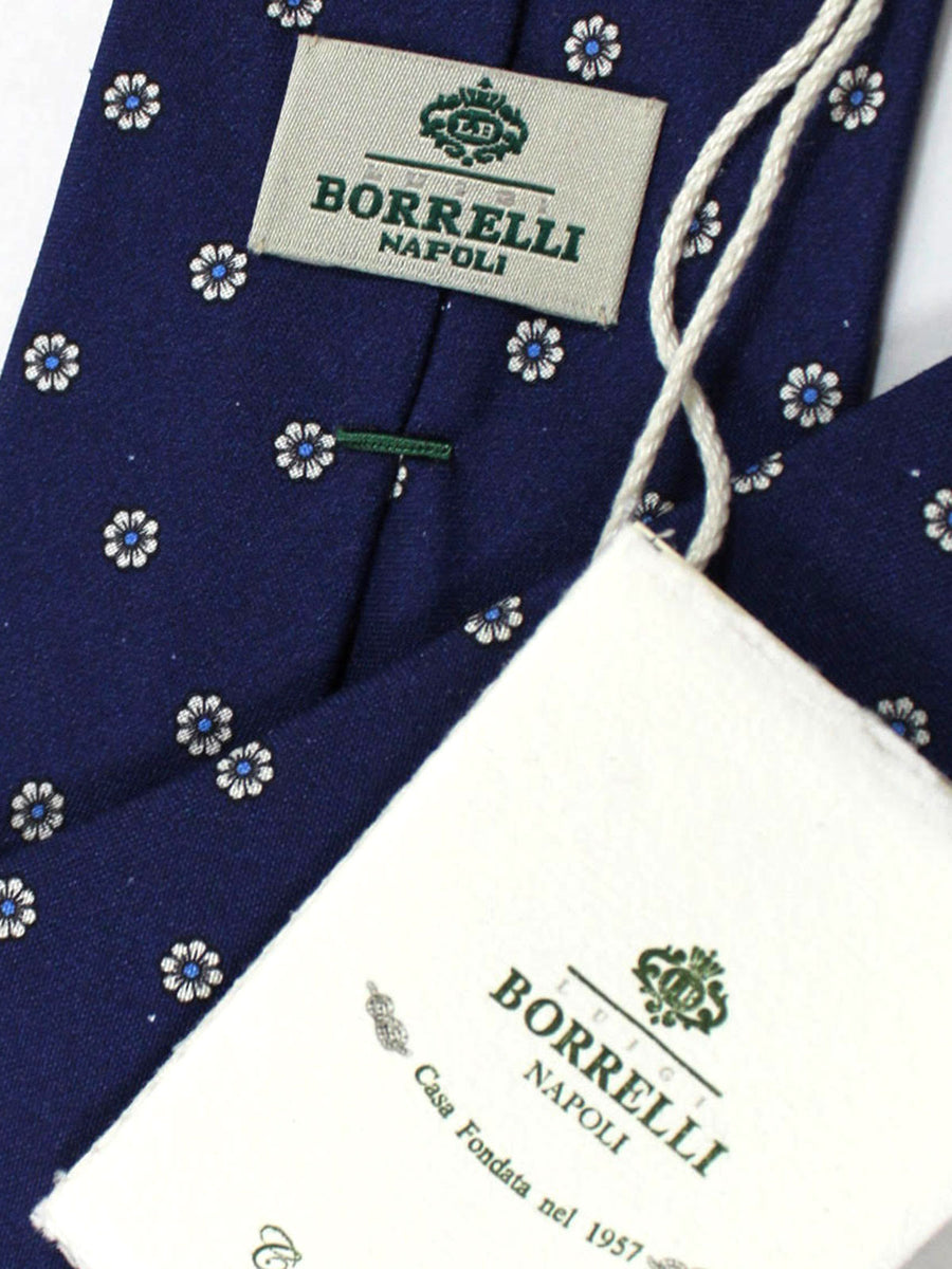 Luigi Borrelli Silk Tie Navy White Blue Floral