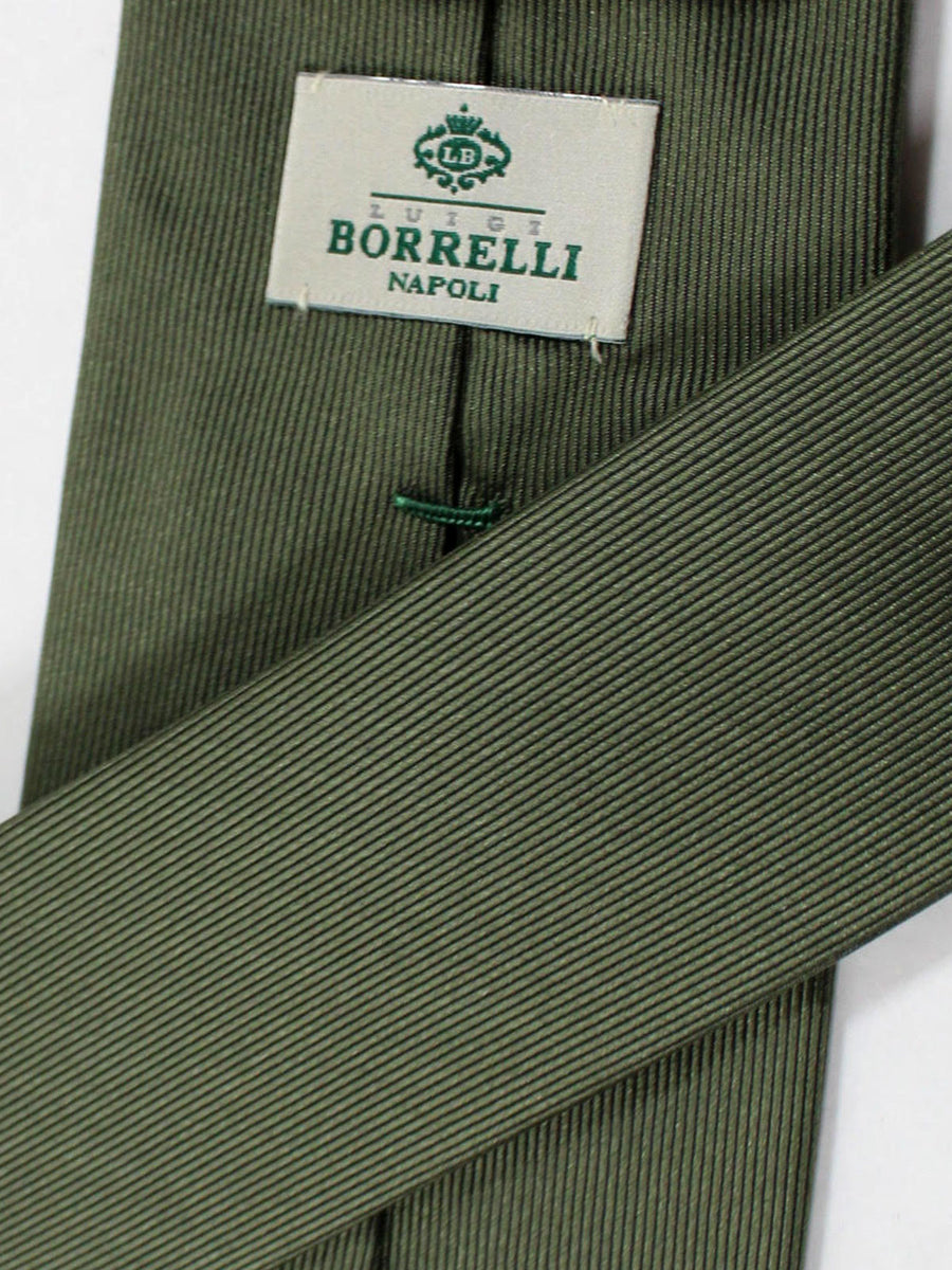 Luigi Borrelli Silk Tie Forest Green Grosgrain