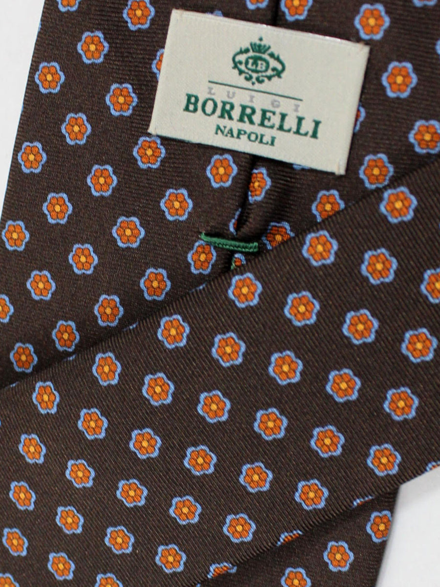 Luigi Borrelli Silk Tie Brown Floral