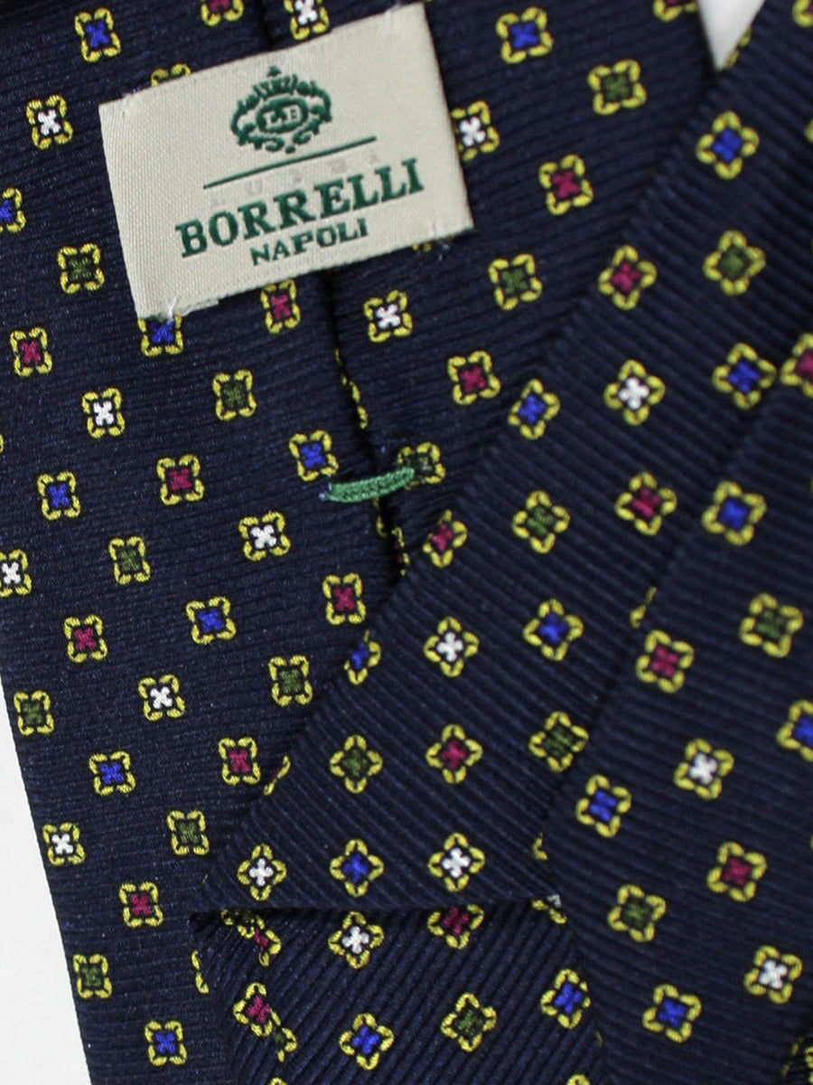 Luigi Borrelli Silk Tie Dark Navy Geometric
