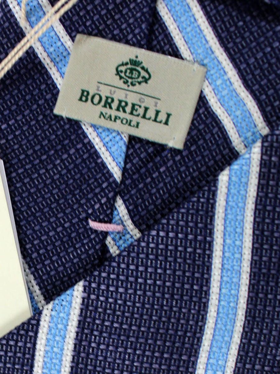 Luigi Borrelli Linen Silk Tie Navy Blue Stripes