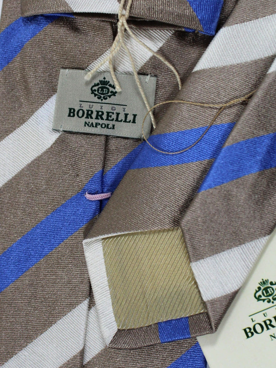 Luigi Borrelli Linen Silk Tie Tan White Blue Silver Stripes