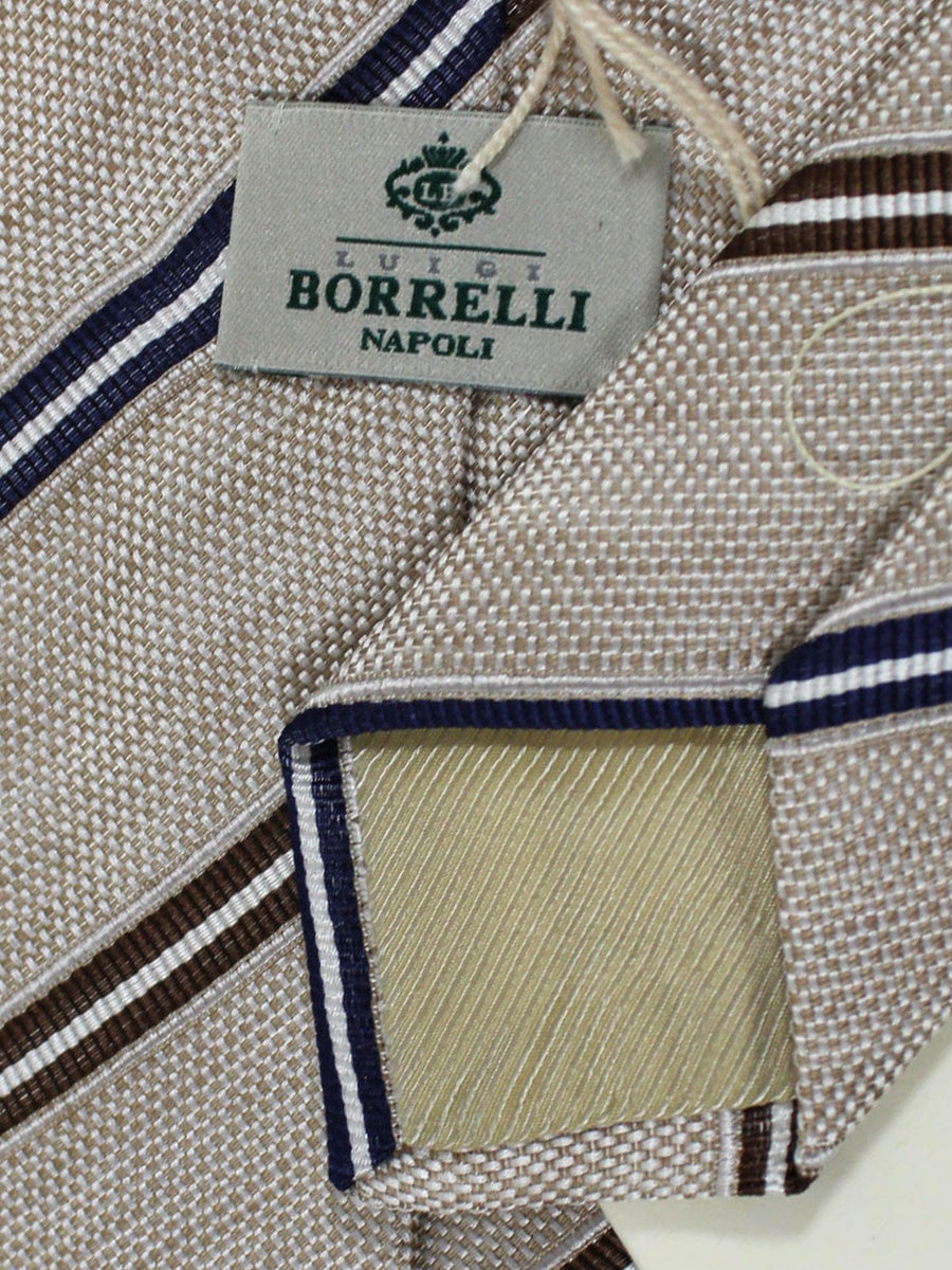 Luigi Borrelli Linen Silk Tie Beige Brown Navy Stripes