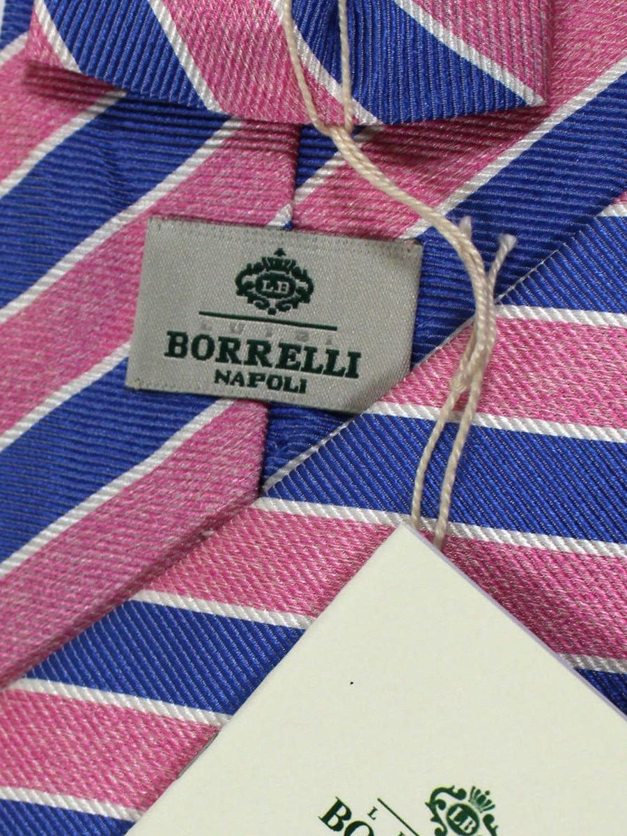 Luigi Borrelli Linen Silk Tie Pink Blue White Stripes