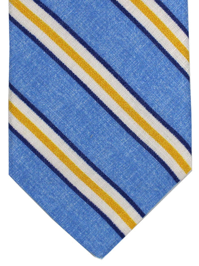 Luigi Borrelli Linen Silk Tie Blue Yellow Stripes