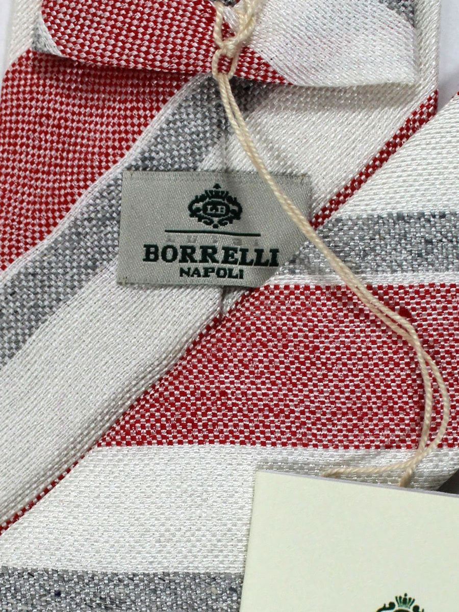 Luigi Borrelli Linen Silk Tie White Red Gray Design