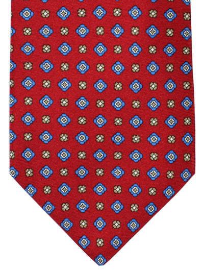 Luigi Borrelli Tie Dark Red Blue Medallions