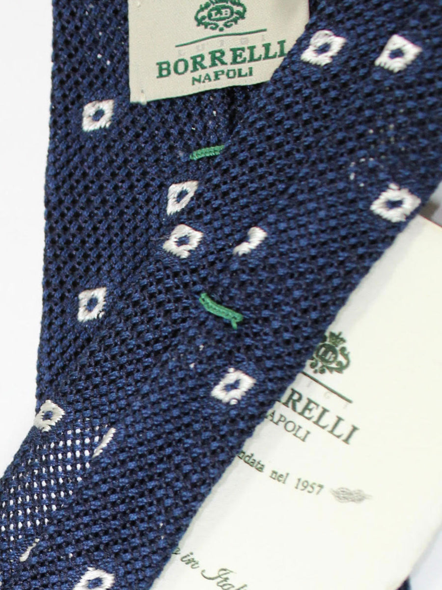 Luigi Borrelli Tie Midnight Navy White Geometric Wool Silk Unlined Necktie