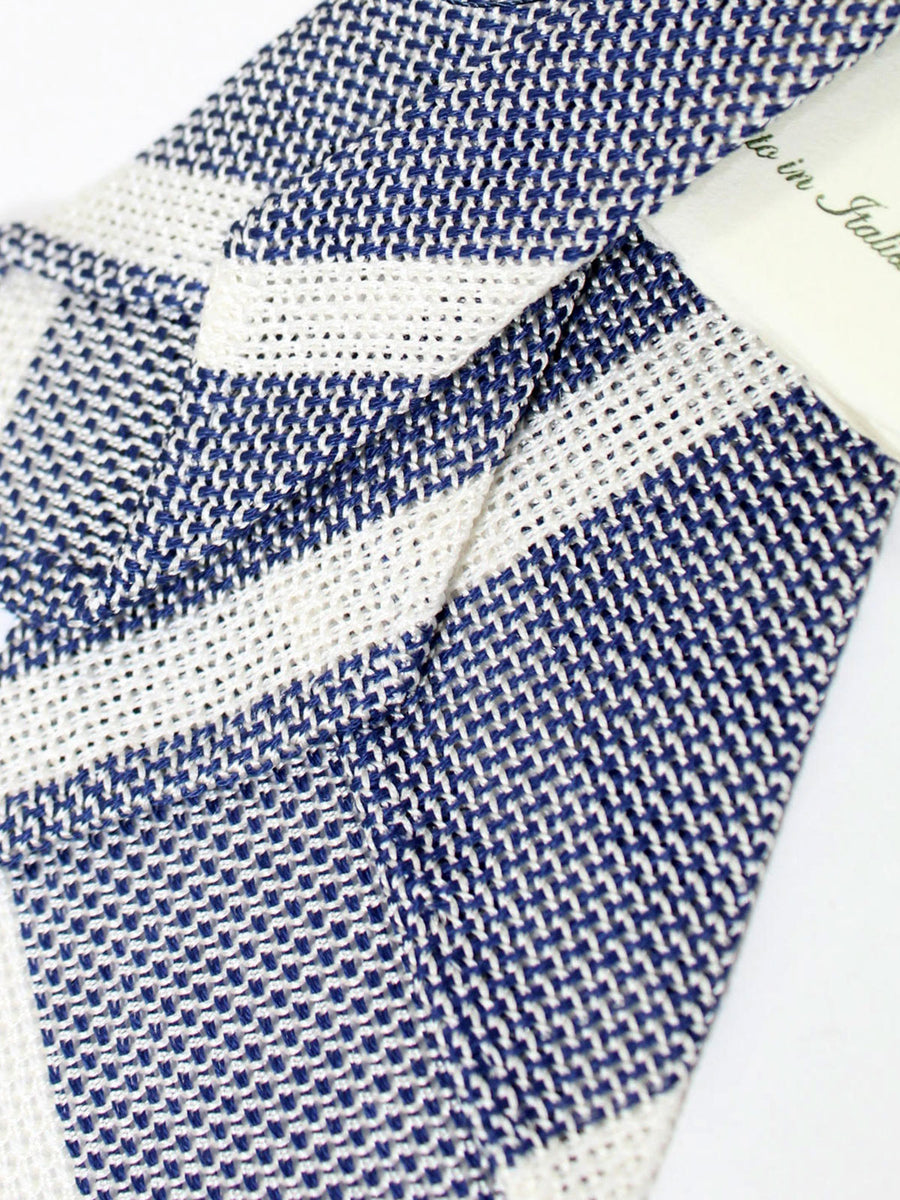 Luigi Borrelli Tie Navy White Silver Stripes Wool Silk Unlined Necktie