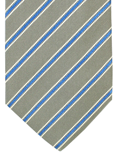 Luigi Borrelli Silk Tie Gray Royal Blue Stripes
