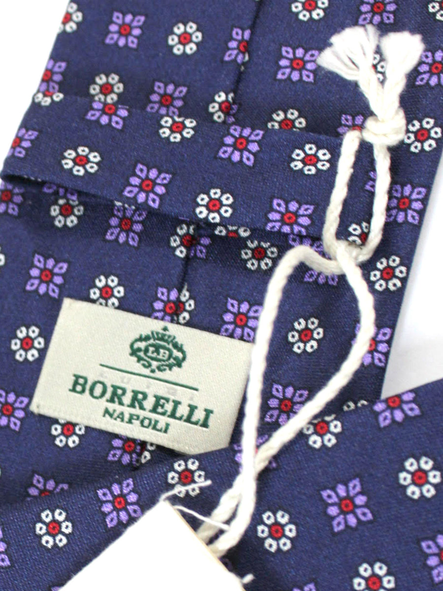 Luigi Borrelli Silk Tie Purple Red Floral