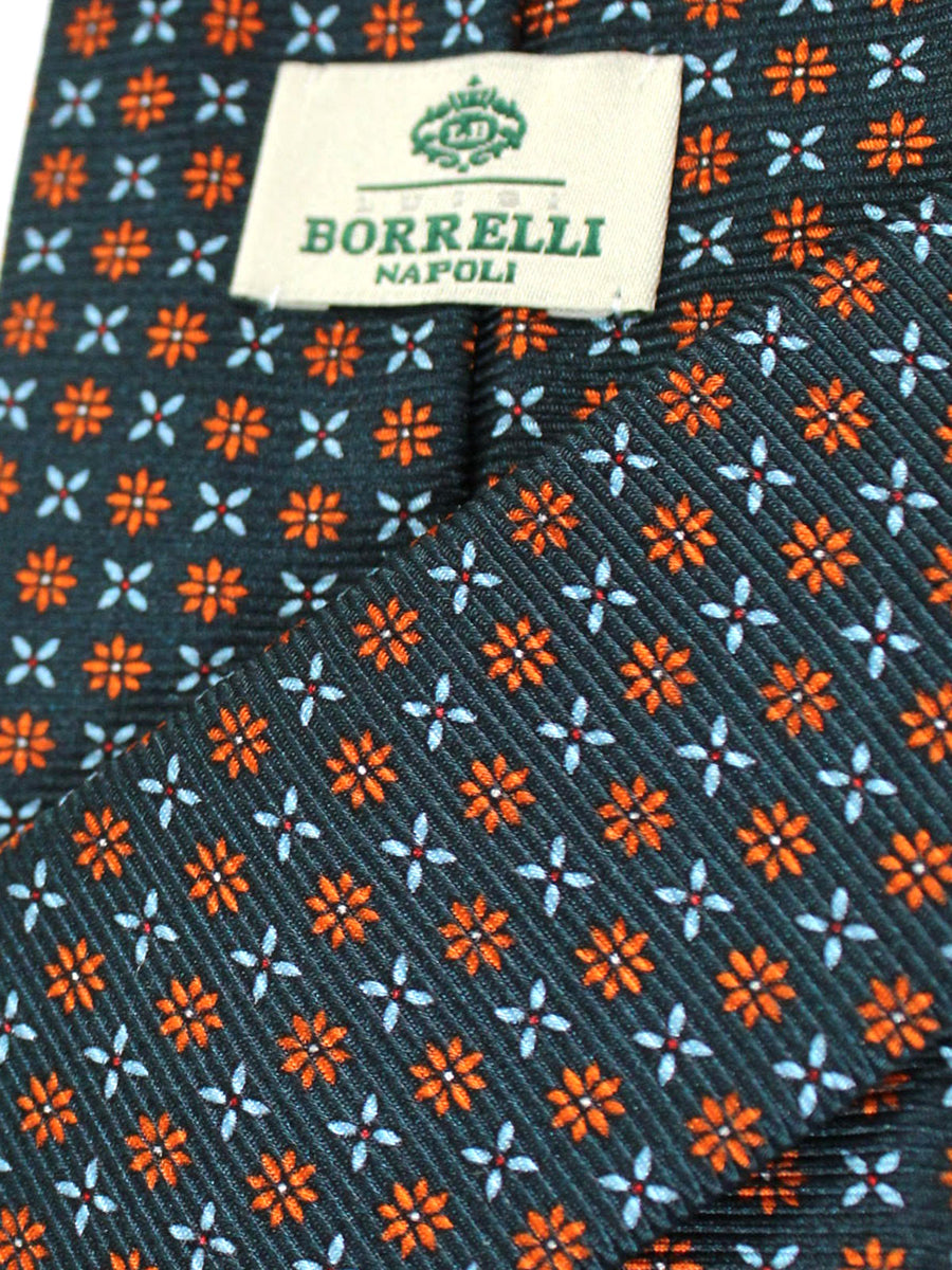 Luigi Borrelli Silk Tie Emerald Orange Sky Blue Floral