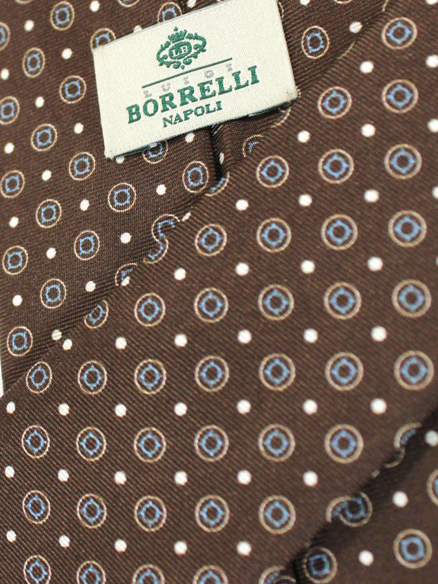 Luigi Borrelli Silk Tie Brown Geometric