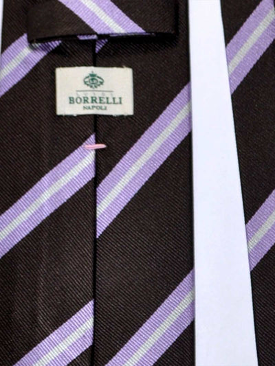 Luigi Borrelli Tie Brown Lilac Silver Stripes FINAL SALE