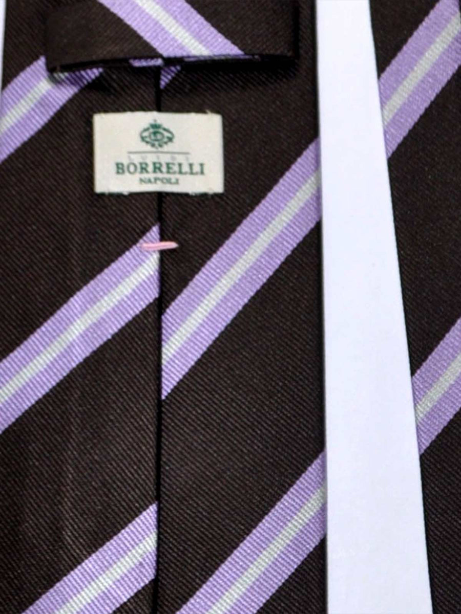 Luigi Borrelli Tie Brown Lilac Silver Stripes SALE