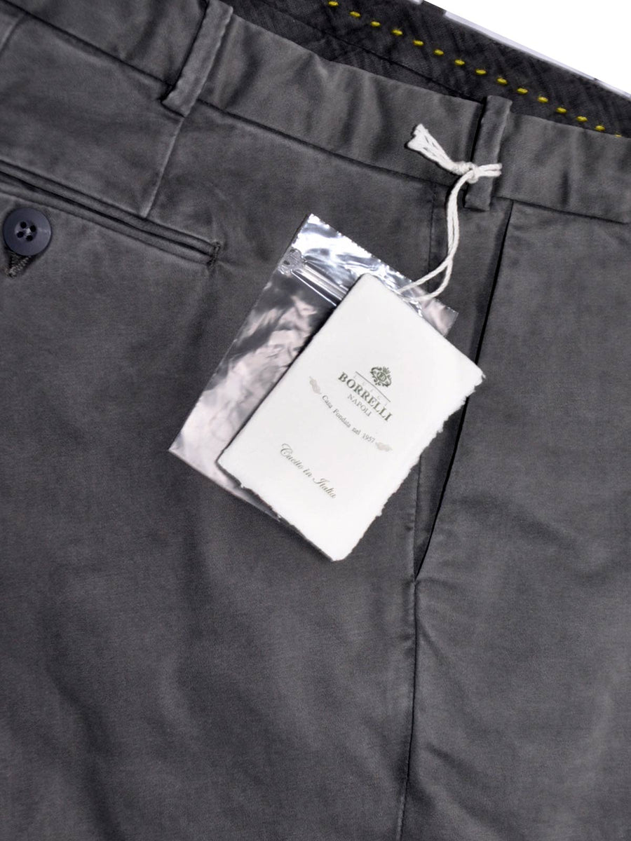 Borrelli Pants Green-Gray Casual Trousers Slim Fit