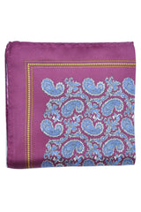 Luigi Borrelli Pocket Square Purple Blue Paisley