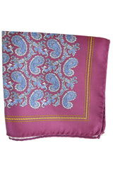Luigi Borrelli Silk Pocket Square Purple Navy Paisley