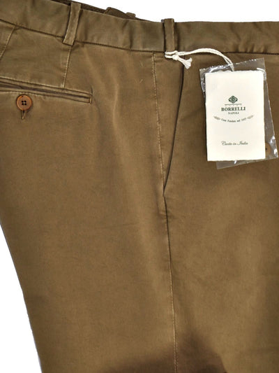 Nrew Borrelli Pants Olive Brown Trousers Slim Fit