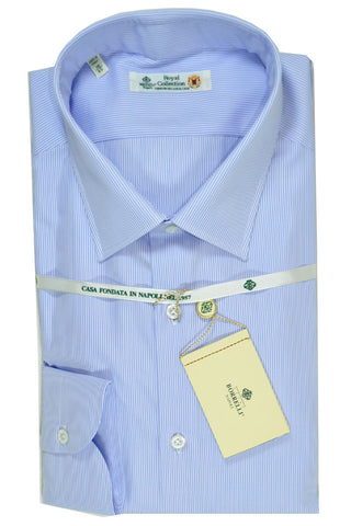 Luigi Borrelli Shirt Royal Collection White Blue Stripes 41 - 16 SALE