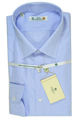 Luigi Borrelli Shirt Royal Collection White Blue Stripes 40 - 15 3/4 SALE