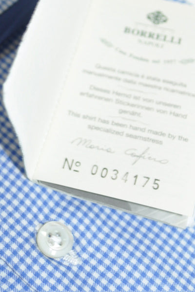 Luigi Borrelli Shirt Royal Collection White Navy Check 39 - 15 1/2