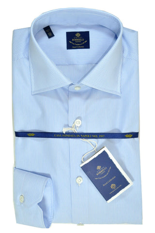 Luigi Borrelli Shirt Royal Collection White Blue Stripes