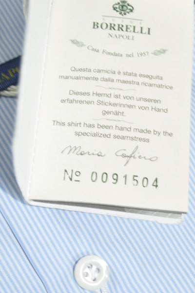 Luigi Borrelli Dress Shirt ROYAL COLLECTION White Blue Stripes 40 - 15 3/4