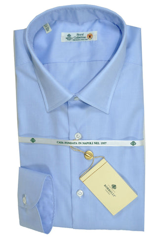 Luigi Borrelli Shirt Royal Collection Sky Blue 46 - 18 1/2 SALE