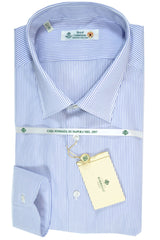Luigi Borrelli Shirt Royal Collection White Navy Stripes