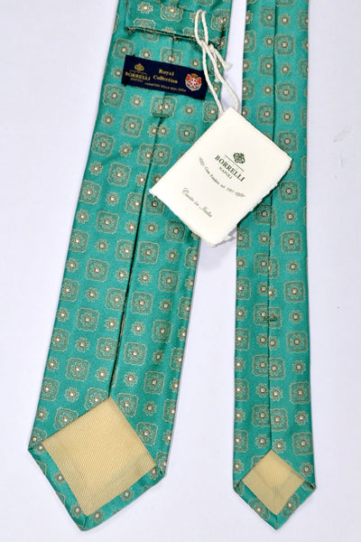 Borrelli Tie ROYAL COLLECTION Emerald Green Medallion