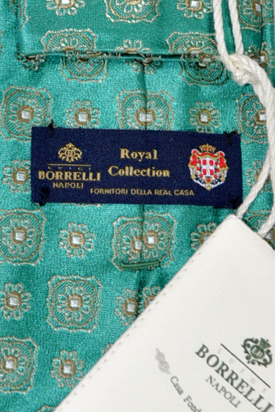 Luigi Borrelli Sevenfold Tie ROYAL COLLECTION Emerald Green Medallion