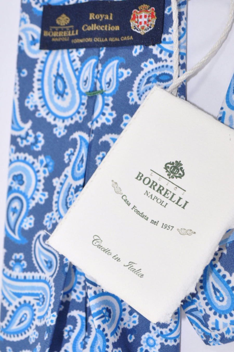 Borrelli Sevenfold Tie ROYAL COLLECTION Gray Blue White Paisley