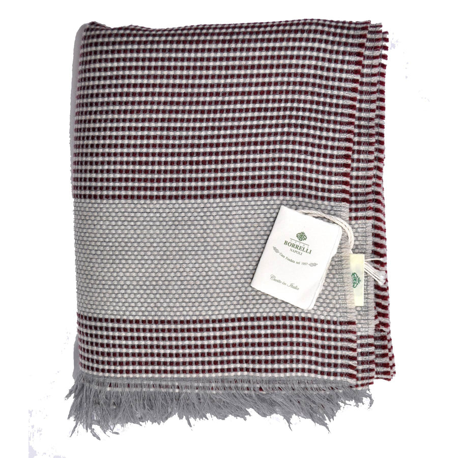 Borrelli Scarf Maroon Gray Wool SALE