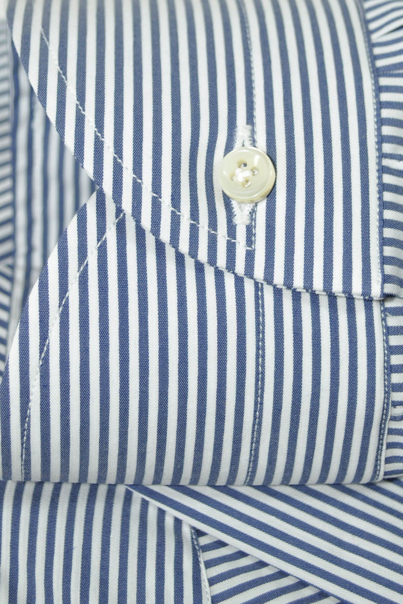 Luigi Borrelli Dress Shirt White Navy Stripe
