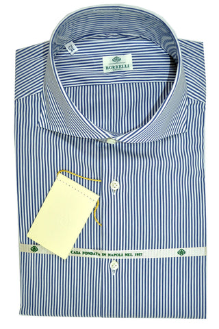 Luigi Borrelli Dress Shirt White Navy Stripe 39 - 15 1/2 SALE