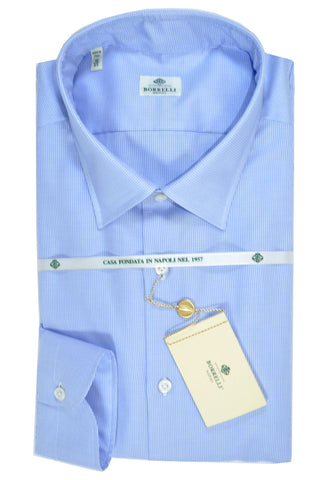 Luigi Borrelli Dress Shirt White Blue Mini Houndstooth 45 - 18 SALE