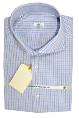 Luigi Borrelli Dress Shirt Blue Check 45 - 18 SALE