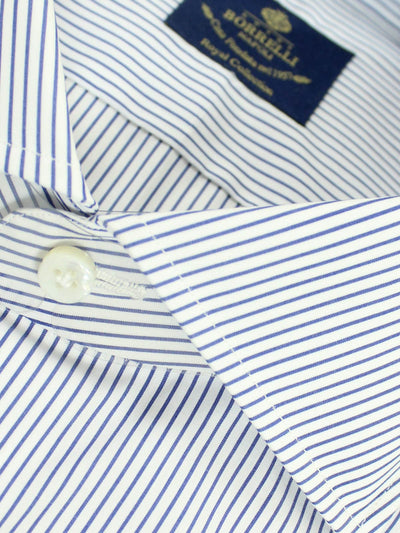 Luigi Borrelli Dress Shirt ROYAL COLLECTION White Royal Blue Stripes 39 - 15 1/2