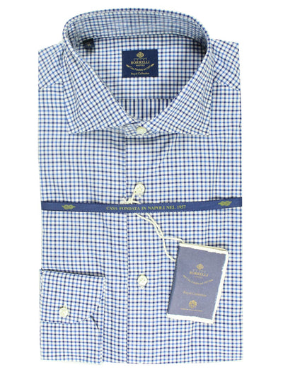 Luigi Borrelli Shirt ROYAL COLLECTION White Navy Blue Check 44 - 17 1/