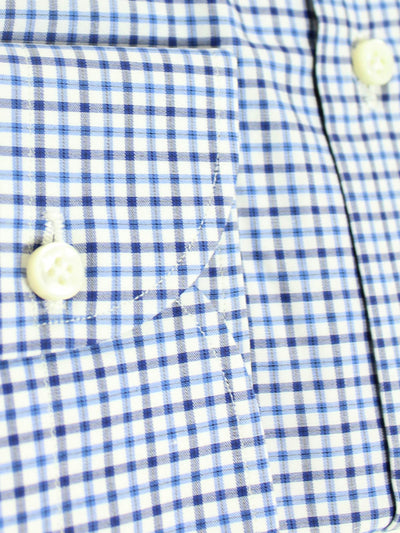 Luigi Borrelli Dress Shirt ROYAL COLLECTION White Navy Blue Check 44 - 17 1/2