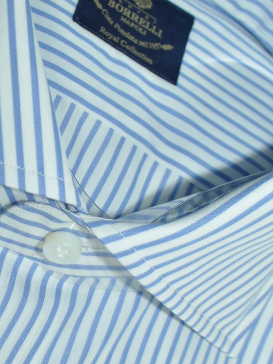 Luigi Borrelli Dress Shirt ROYAL COLLECTION White Blue Classic Stripes 41 - 16