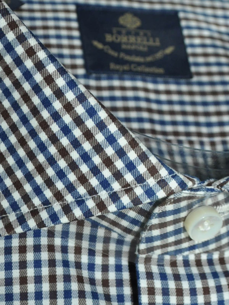 Luigi Borrelli Dress Shirt ROYAL COLLECTION White Navy Brown Check 40 - 15 3/4 REDUCED - SALE