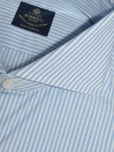 Luigi Borrelli Dress Shirt ROYAL COLLECTION White Blue Stripes 39 - 15 1/2