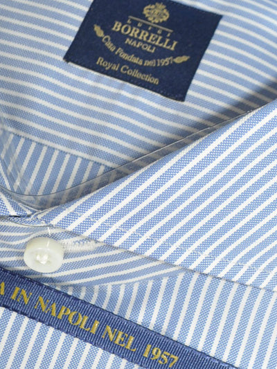 Luigi Borrelli Dress Shirt ROYAL COLLECTION Navy White Stripes 39 - 15 1/2